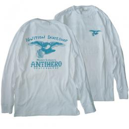 "IGNITION SKATESHOP - ""ANTI HERO"" L/S Tシャツ (WHITE)"
